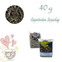 Kompostierbarer Zellglas-Beutel, Geprägtes Verschluss-Siegel aus Zuckerrohrpapier. Komplett abbaubar. Inhalt 40 g