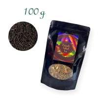 Aluverbundfolien-Standbodenbeutel, Aromabeutel, schwarz, mit Fenster, Inhalt 100 g