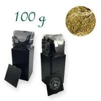 Quadratische Stülpdeckeldose, schwarz, Weißblech, Inhalt 100 g